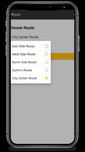 Screenshot of moving job between route function in ezbz
